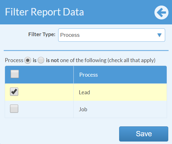 filter report by lead process