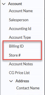 Account information with custom fields
