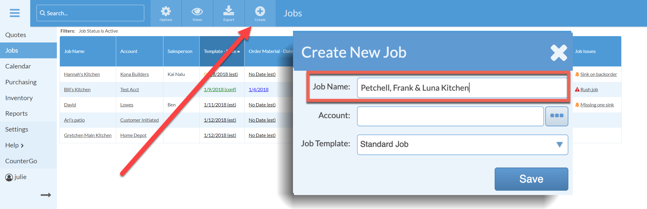create a new job