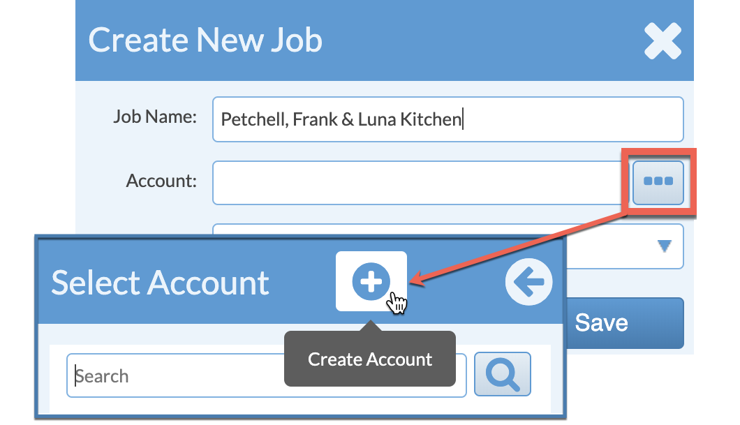 create a new account when creating a job