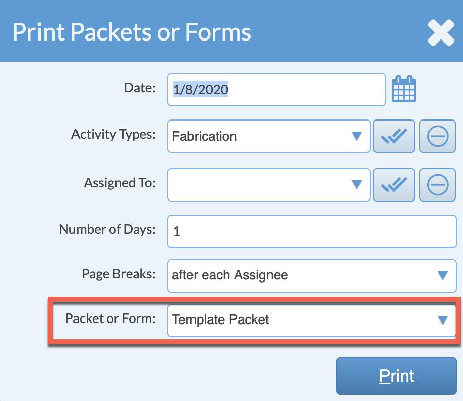 Print packets or forms dialog box