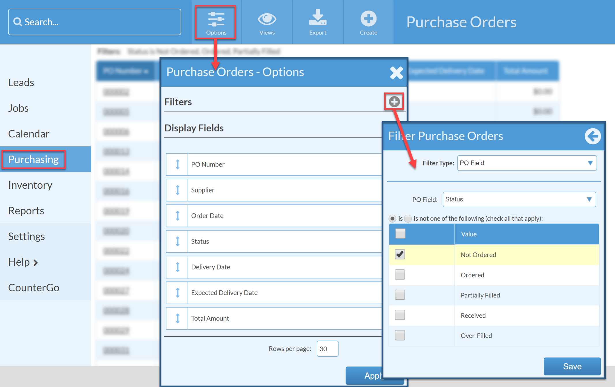not ordered purchase orders