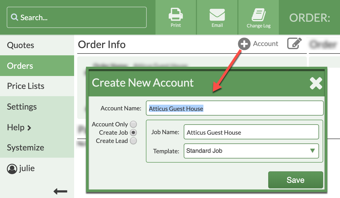 create an account for a standalone order