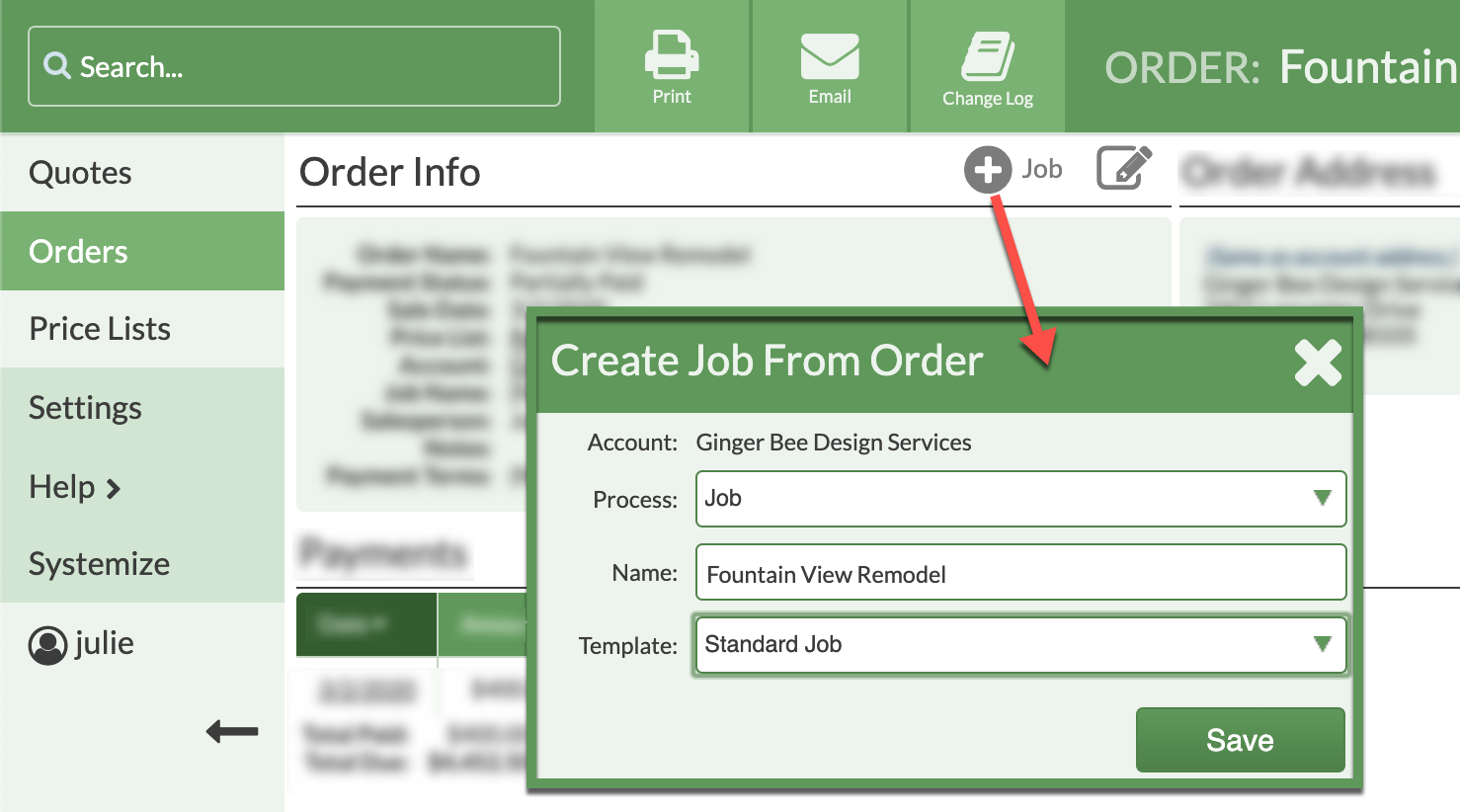 create a job from an order