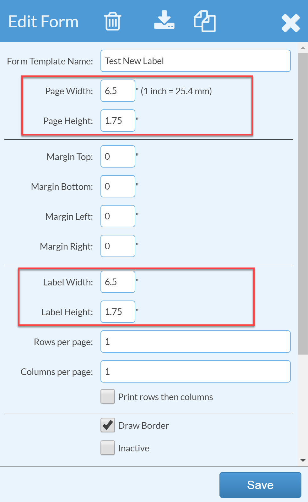 adjust page and label measurements for your inventory label