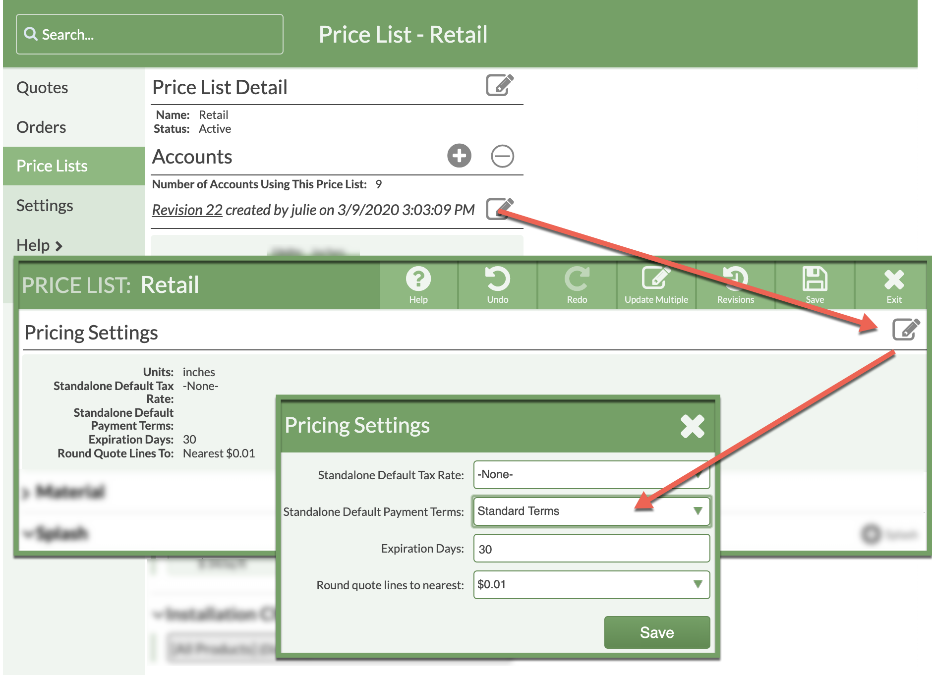 Apply Defualt Payment Terms to A Price LISt