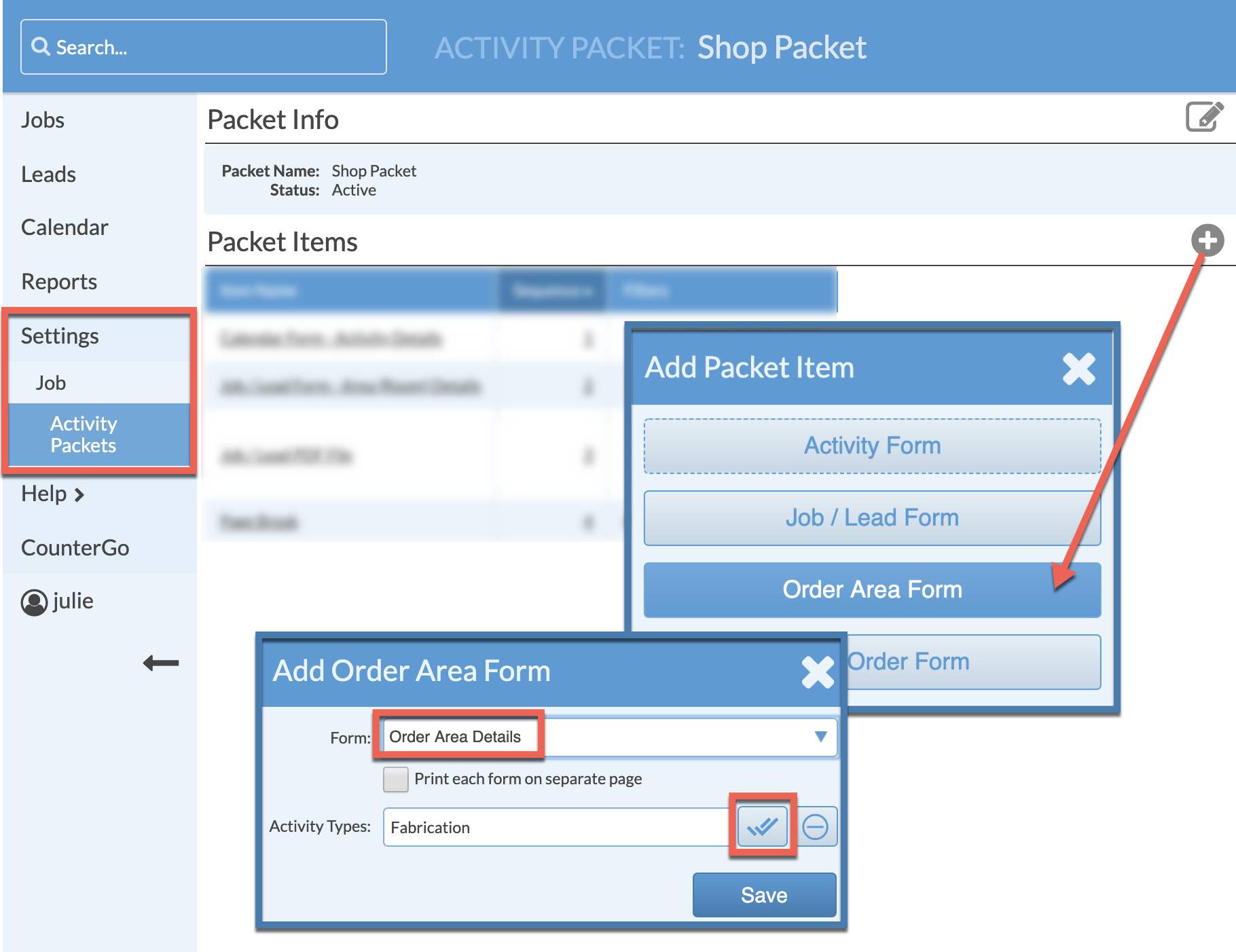Add order area form to activity packet