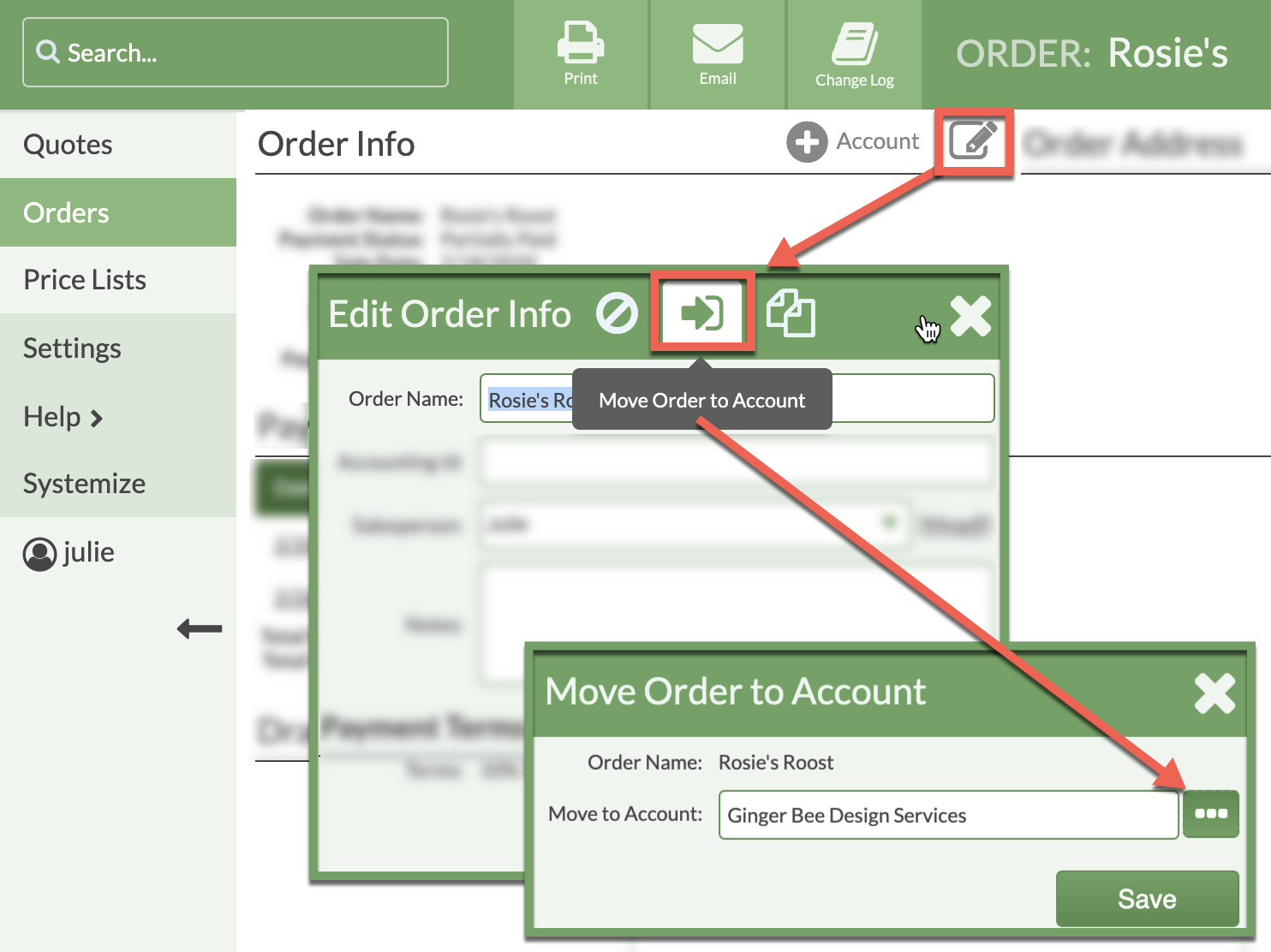 move order to an existing account