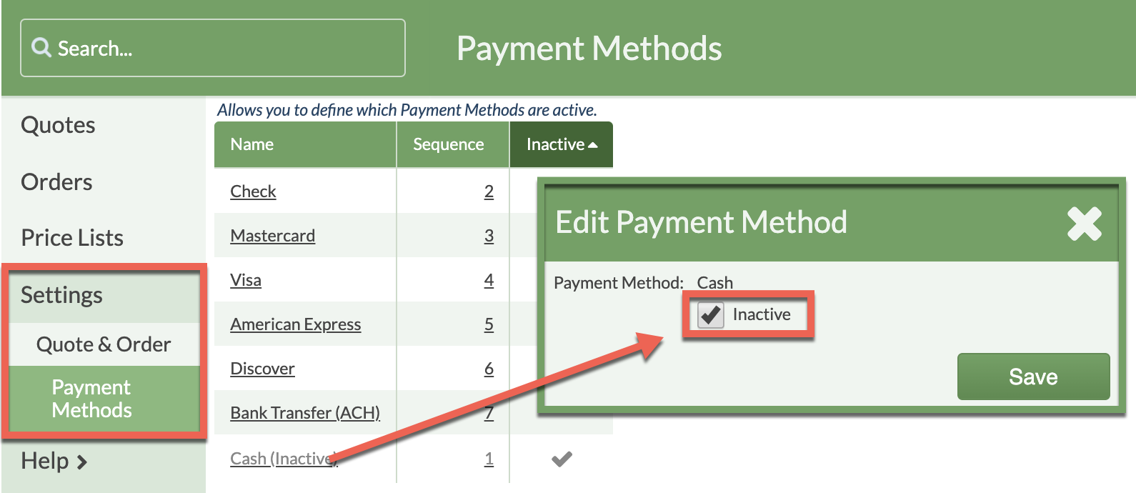 activate/inactivate payment method