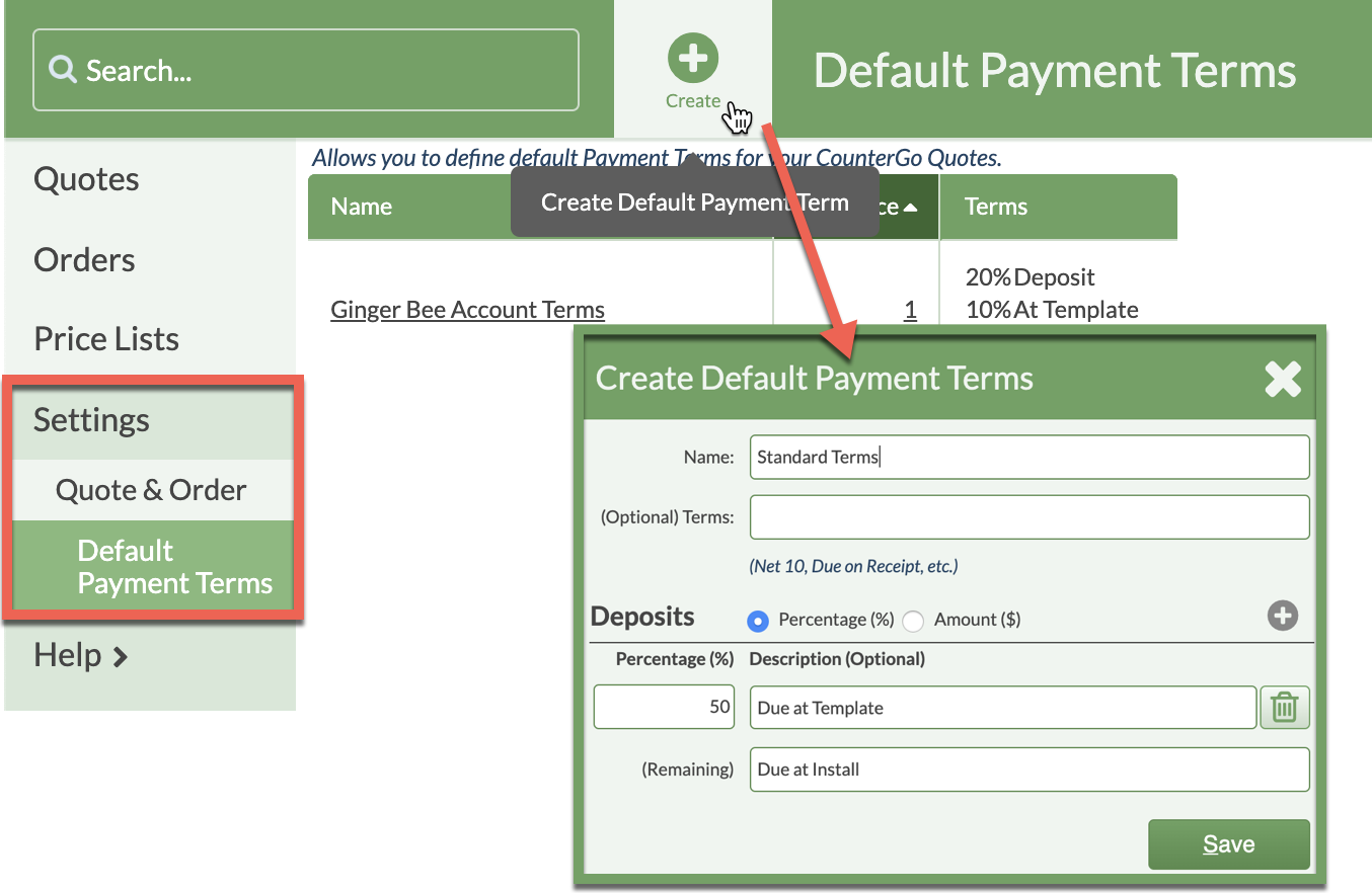 create default payment terms