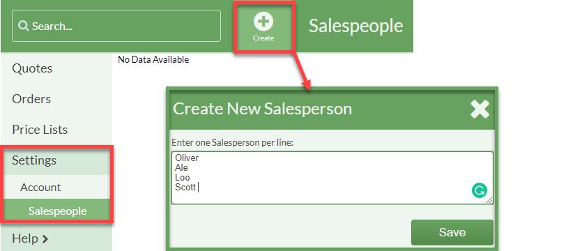 create salespeople