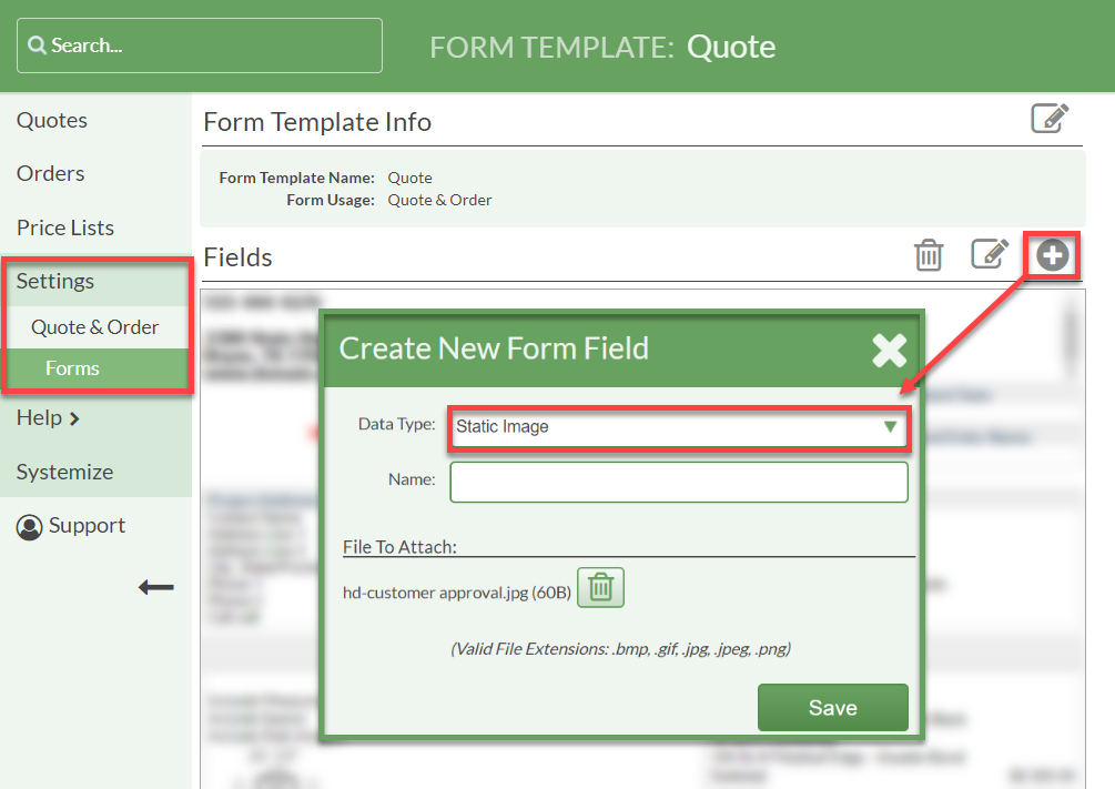 Create a static image form field