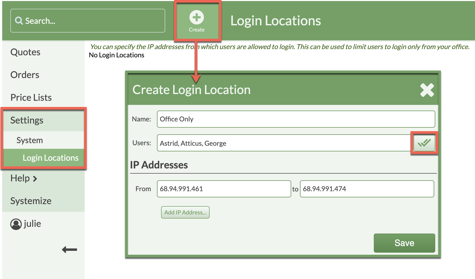 create login locations to restrict access
