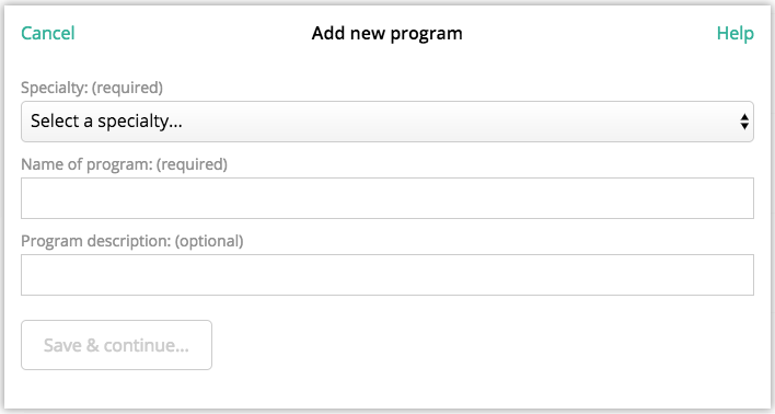 select the relevant specialty and title for your program then click save continue