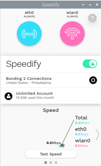 Speedify on Linux with Wi-Fi and Ethernet