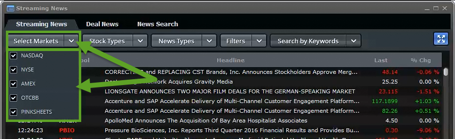 Streaming News - tab - EquityFeed Support