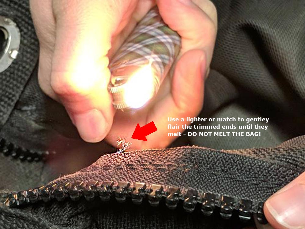 Step 2: How to melt a loose thread on a Red Oxx Bag using a lighter.