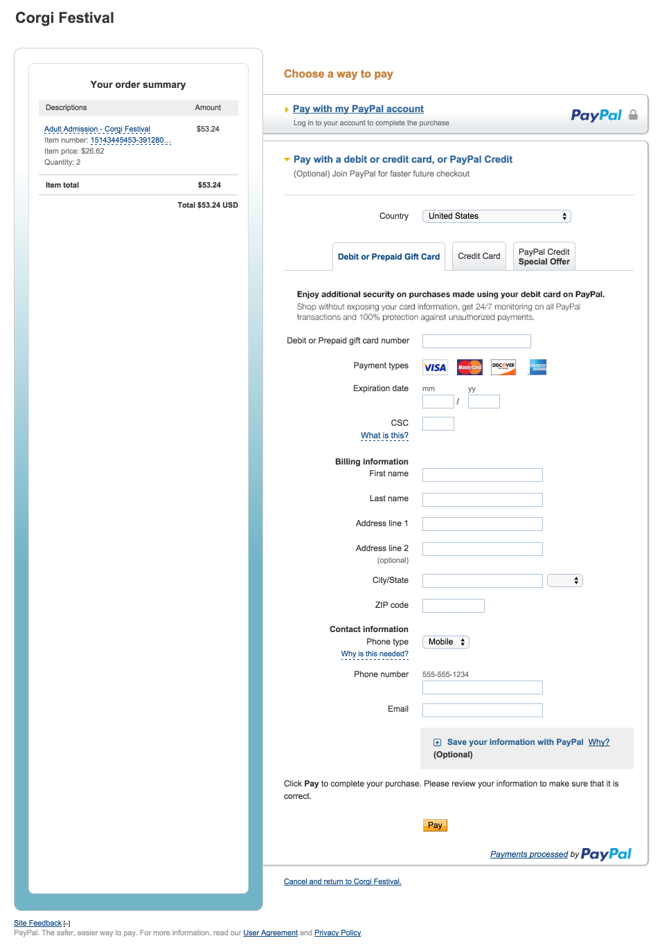 File Check Out Card how do i accept payments with paypal express without