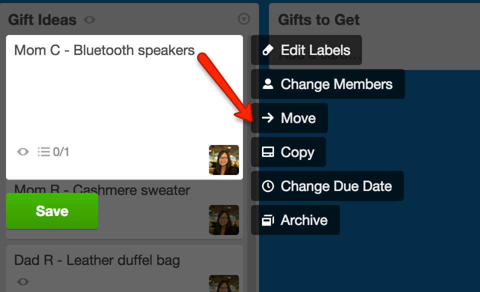 Moving cards or lists - Trello Help