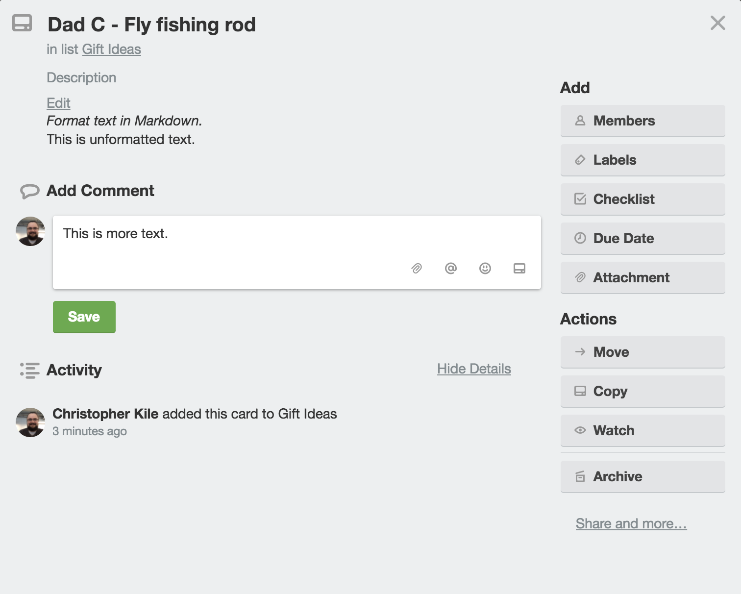Editing cards trello help a card has an optional description field you can edit the description to add card details markdown is used for formatting the text in the description of a colourmoves