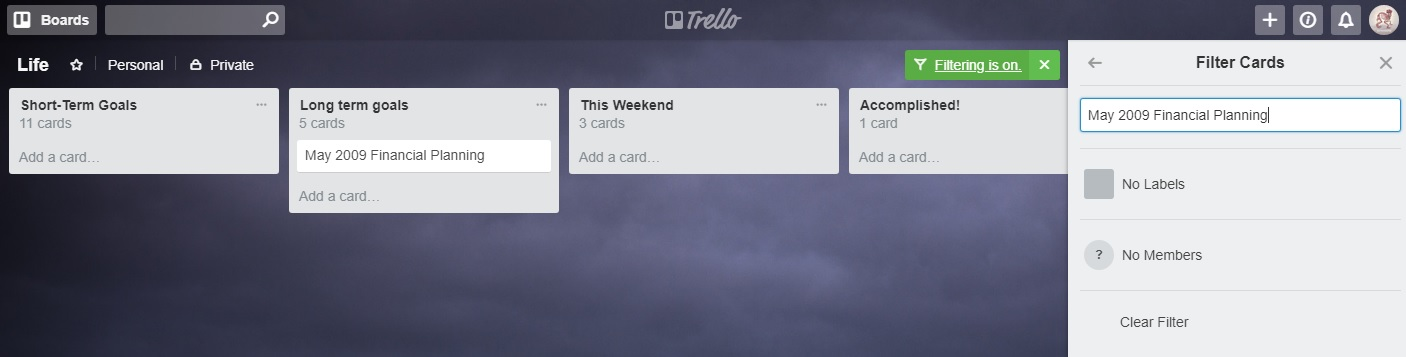 Filtering vs  Searching - Trello Help
