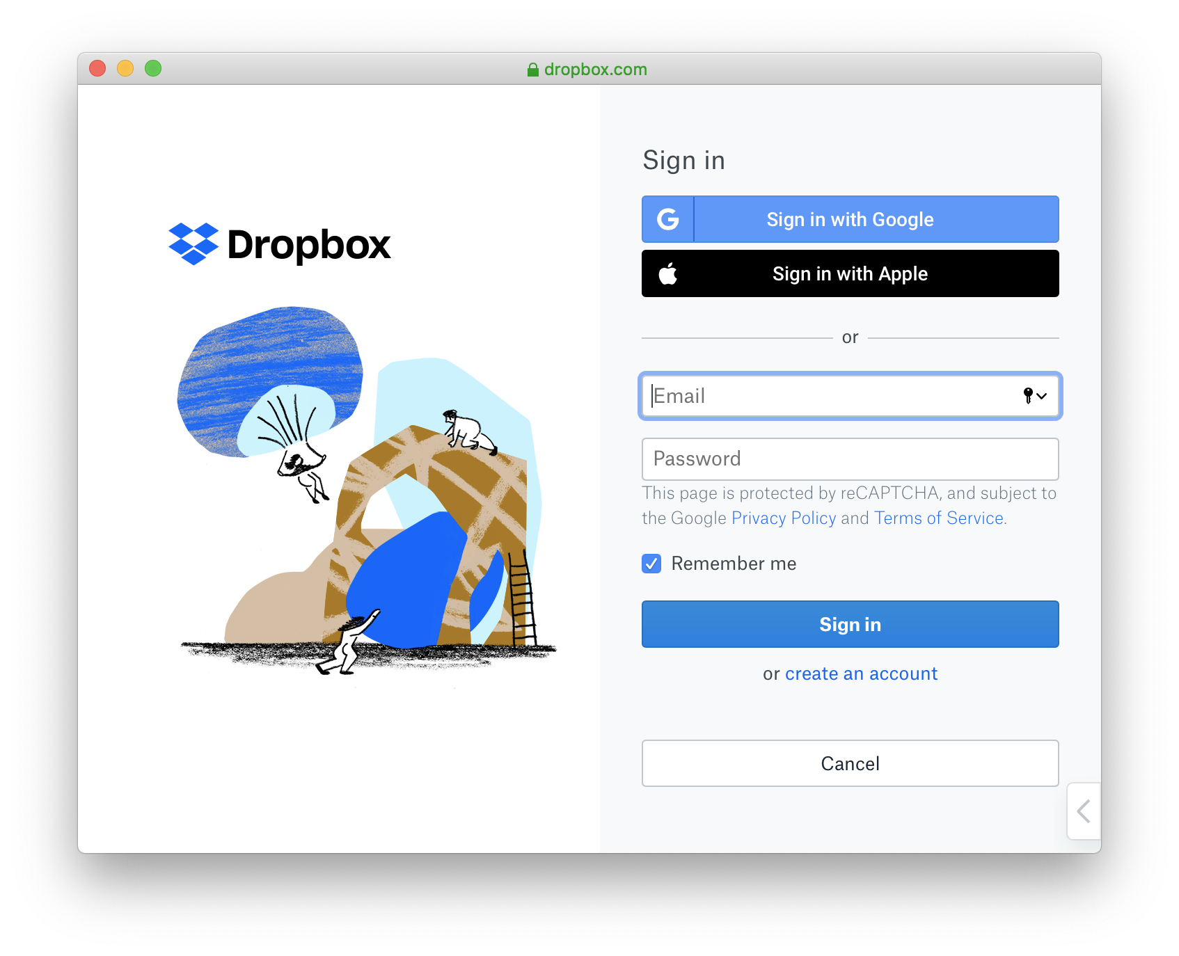 Dropbox Authentication Login Screen