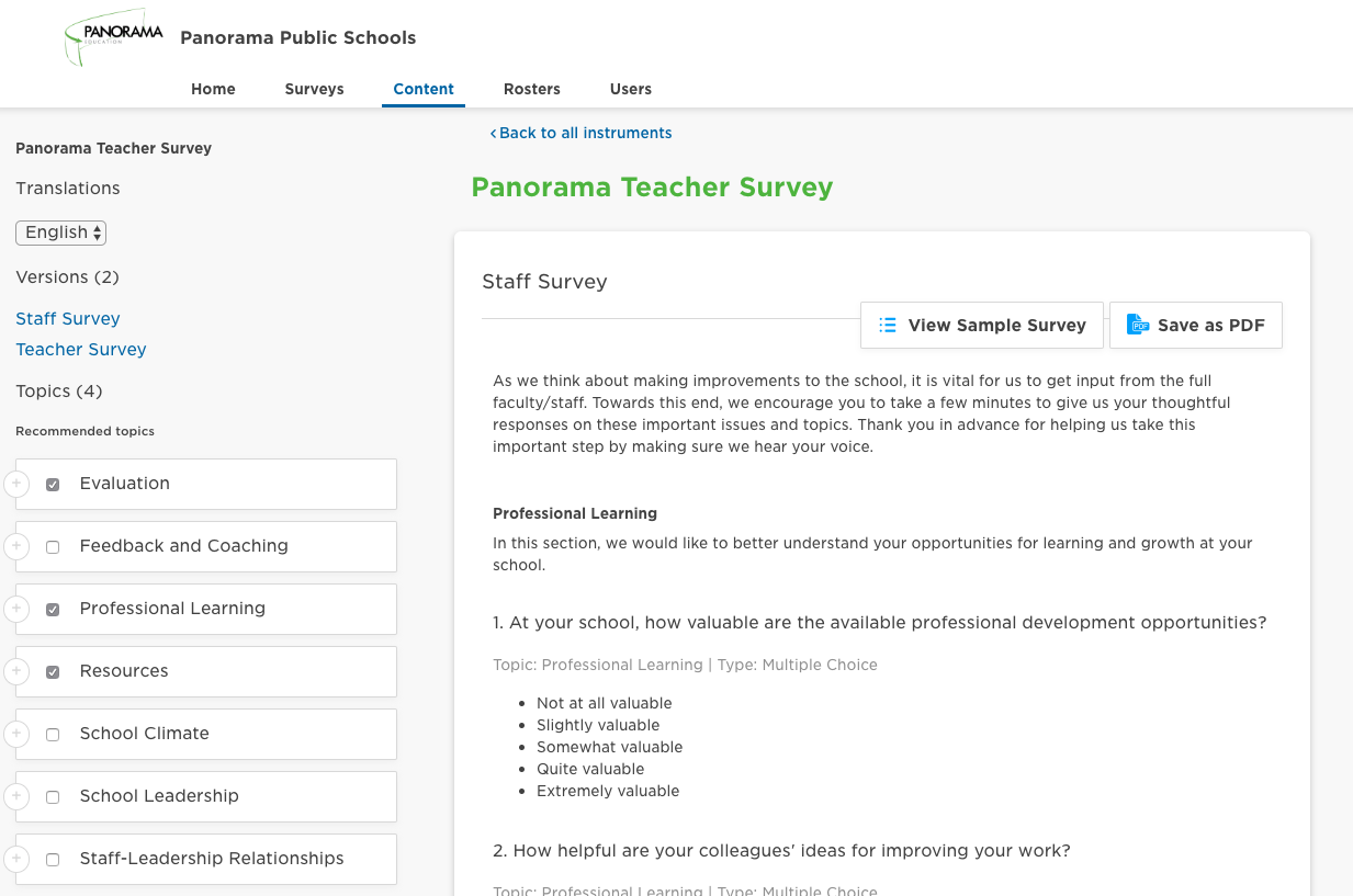 Screenshot of content tool with a teacher survey