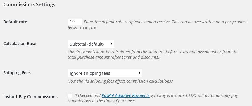 commissions configuring vendor rates easy digital downloads