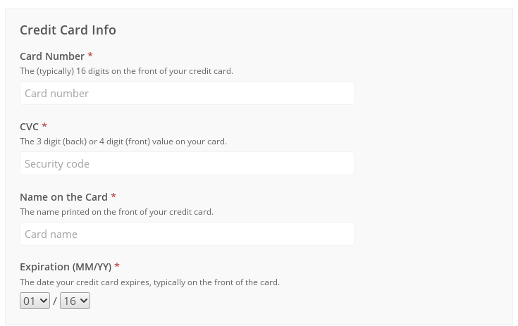 credit card on file form