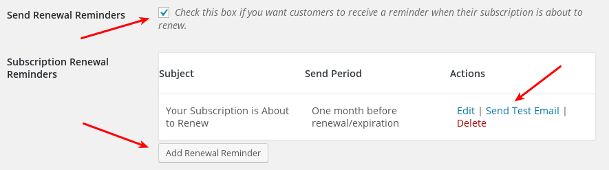 Recurring payments subscription emails easy digital downloads you may also click send test email for testing you may also click add renewal reminder and add as many as you wish altavistaventures Choice Image
