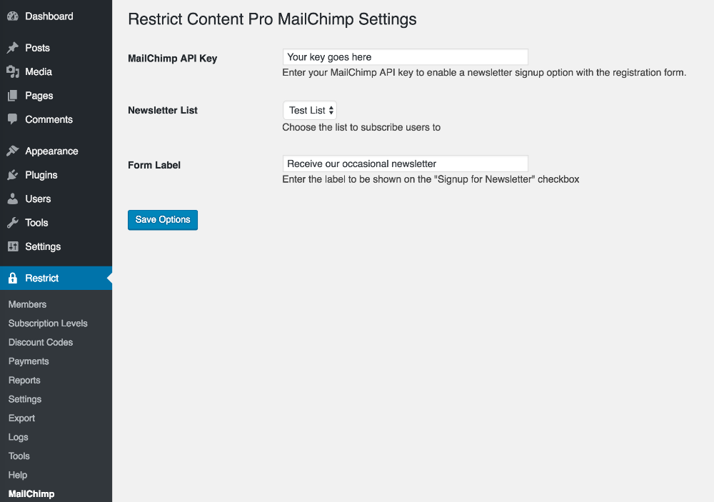 The settings page for the MailChimp for Restrict Content Pro add-on