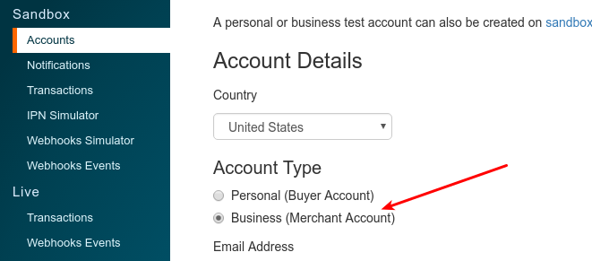 "Switch the account type to ""Business""."