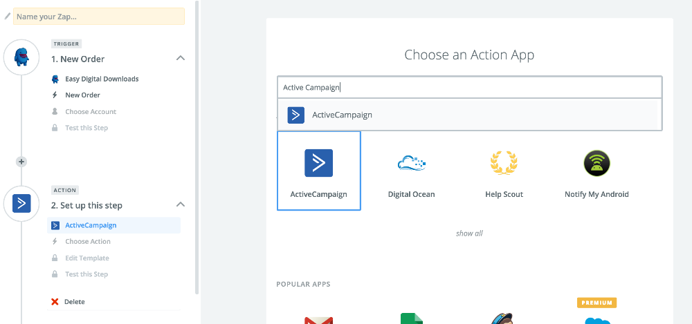 Using Zapier to integrate Active Campaign with EDD - Easy