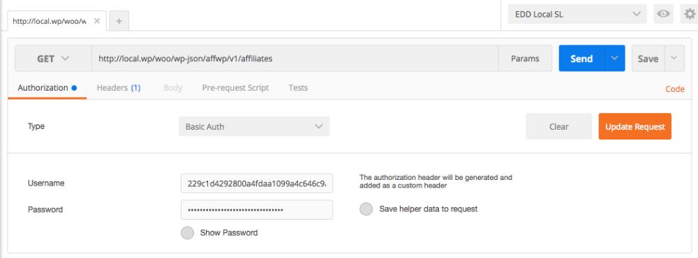 REST API - Authentication - AffiliateWP