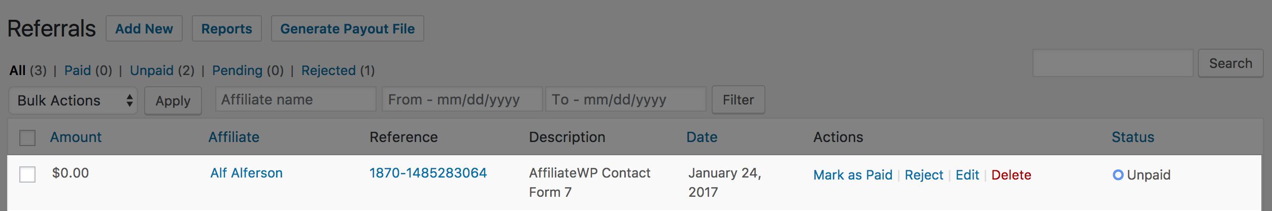 The title of the Contact Form 7 form, which is used as the referral description for the Contact Form 7 integration.