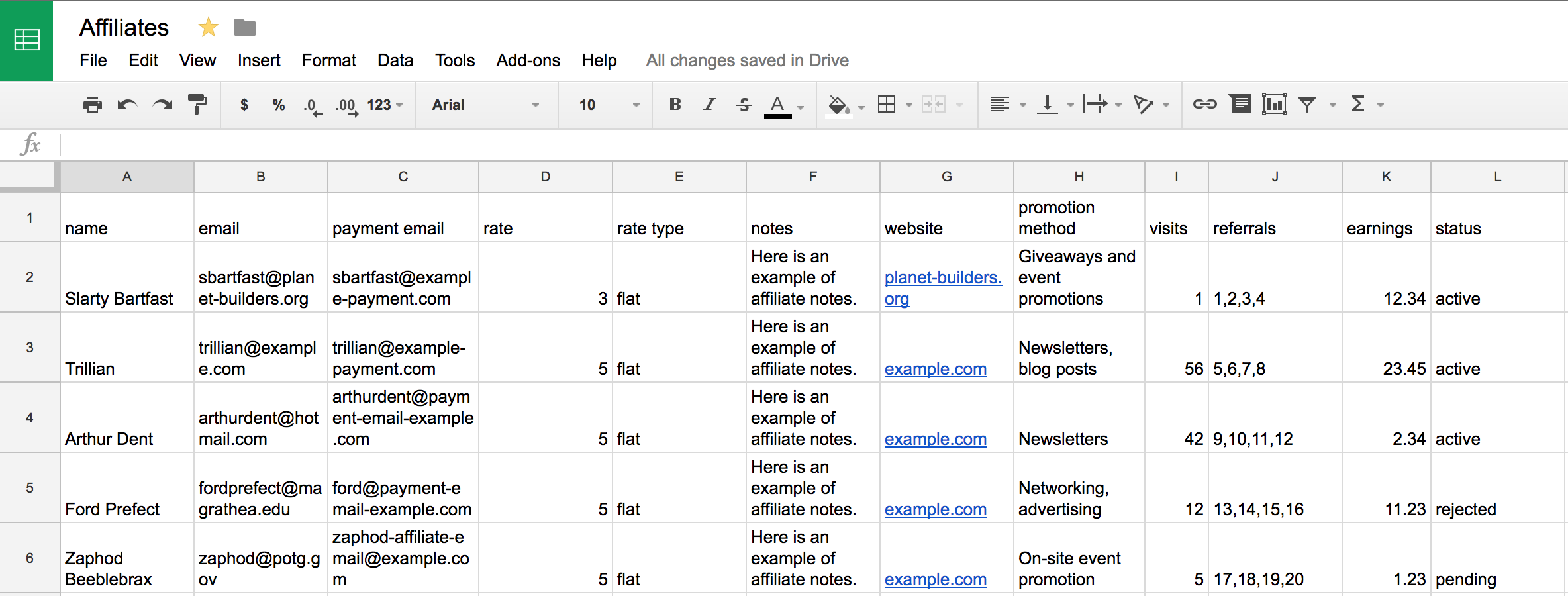 A screenshot of example spreadsheet containing affiliate data to be consumed by a Zapier action, then sent to AffiliateWP.