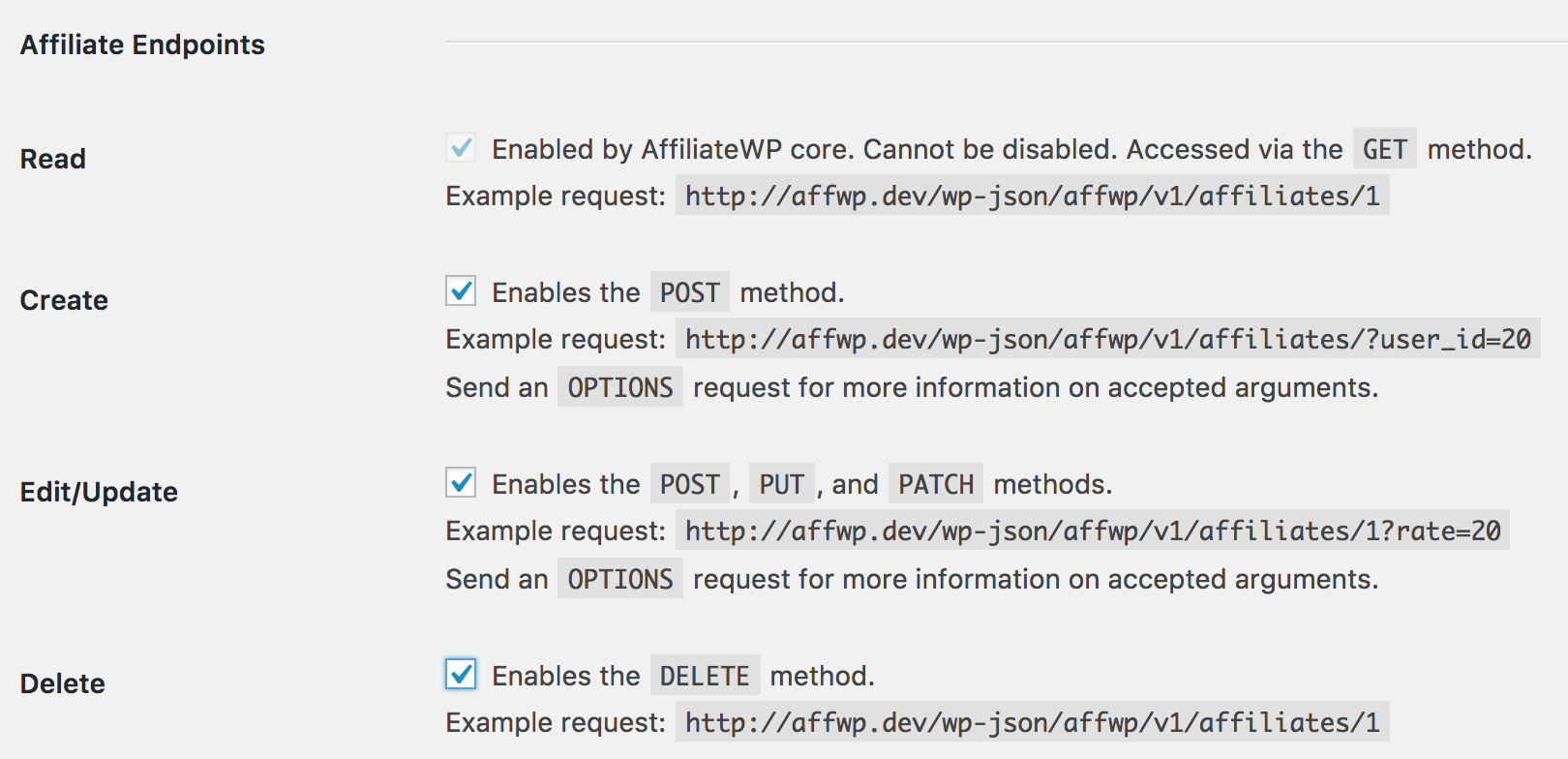 AffiliateWP - REST API Extended endpoints
