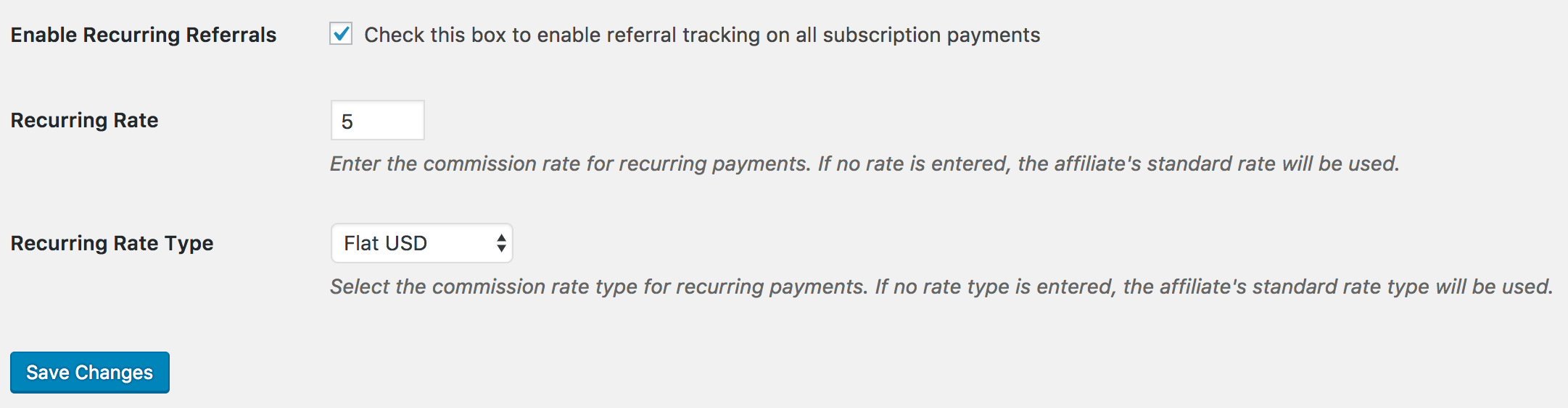 Setting the the recurring rate in Recurring Referrals add-on.