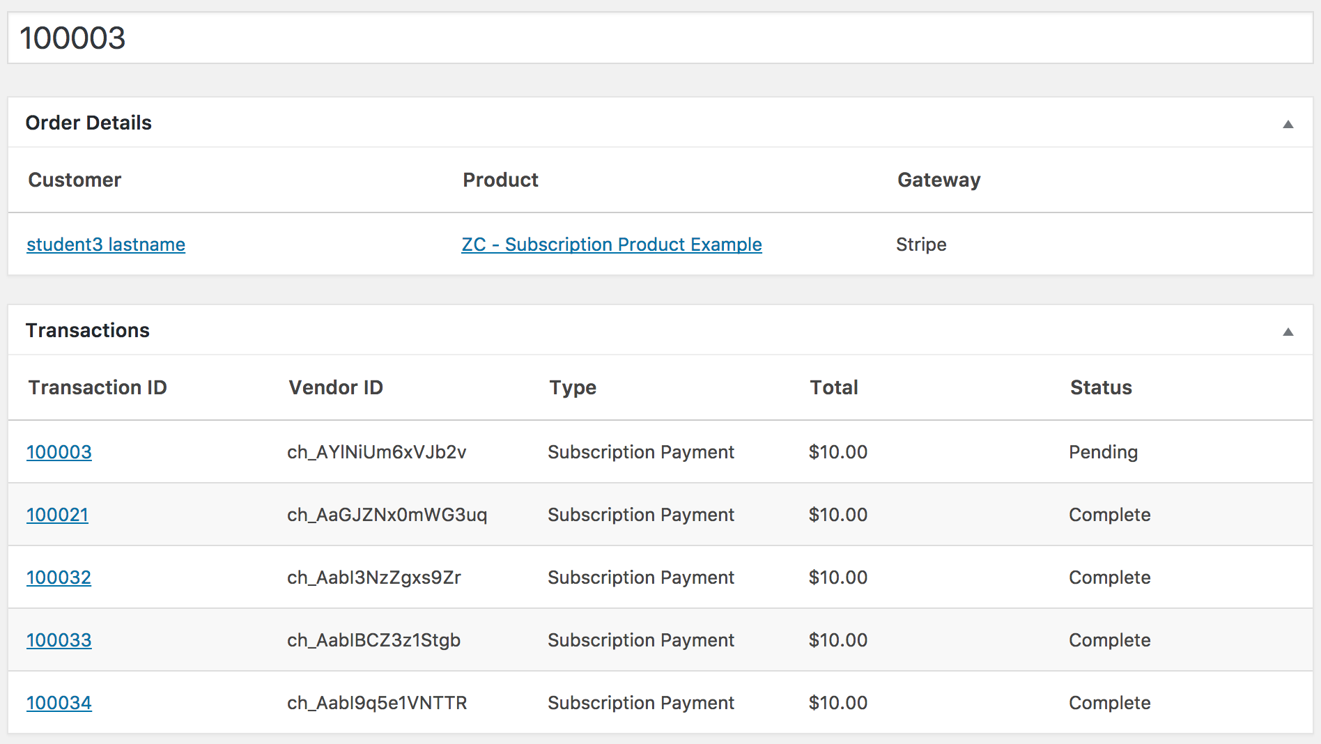 An example of recurring Zippy Courses transactions generated from the AffiliateWP Recurring Referrals add-on.