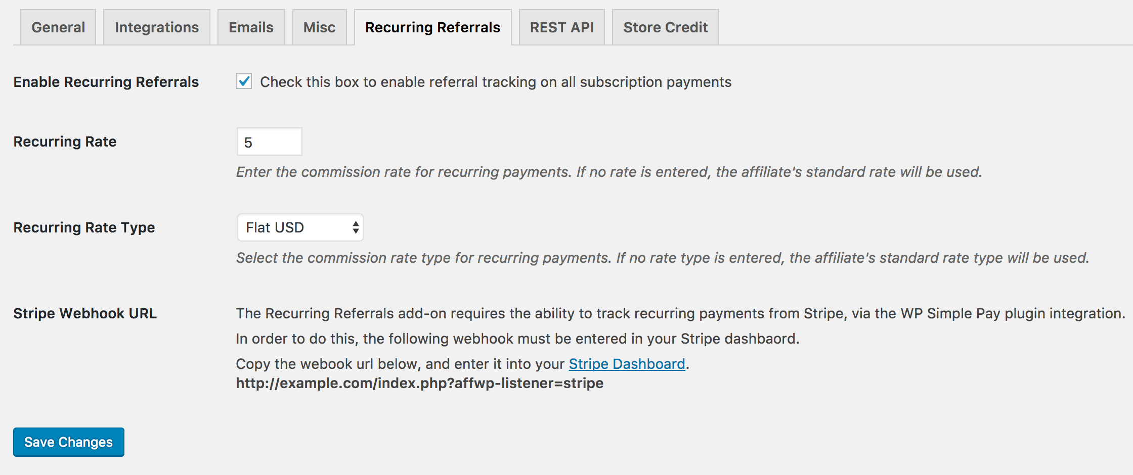 Recurring Referrals webhook url example