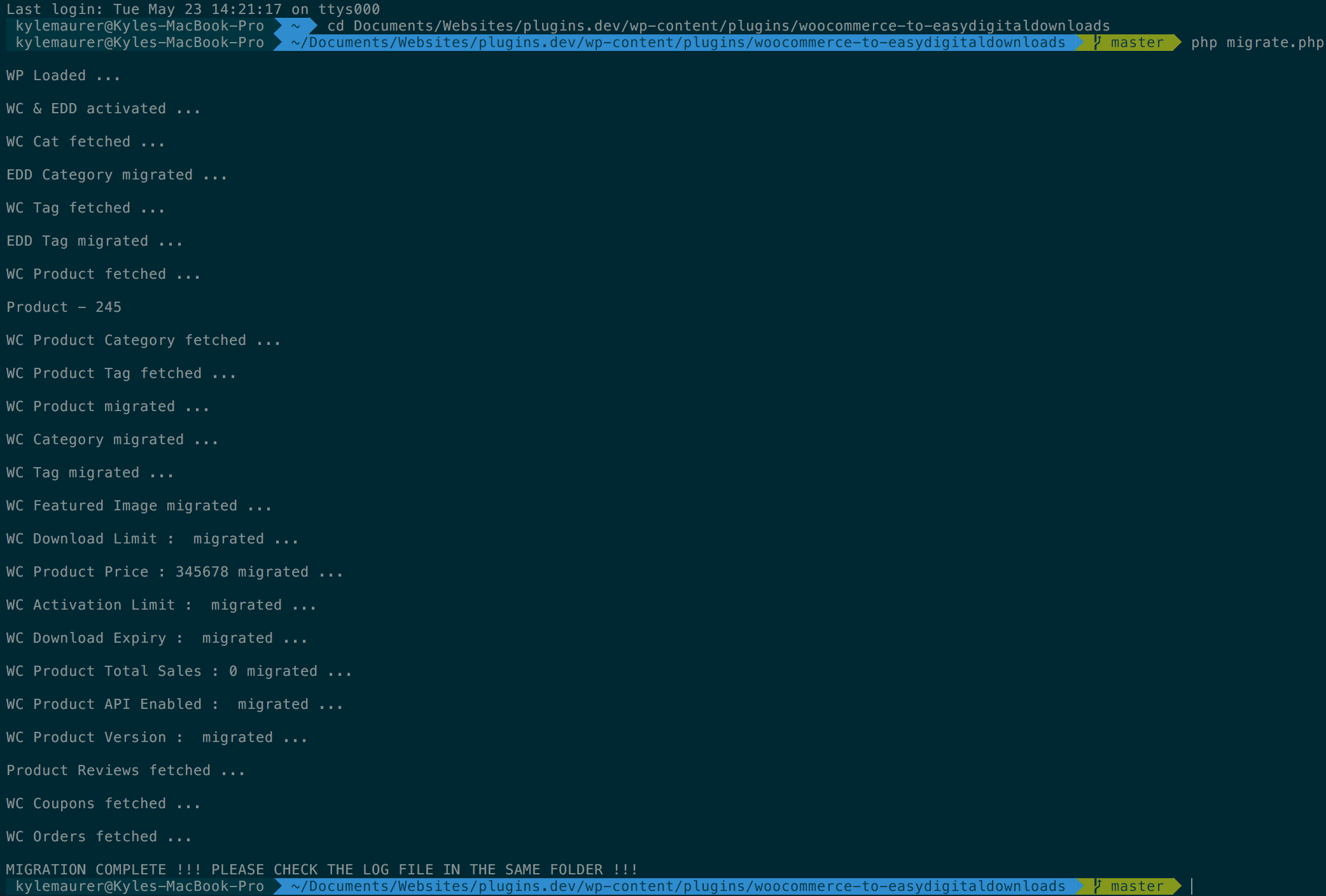 Terminal view showing commands for running PHP script