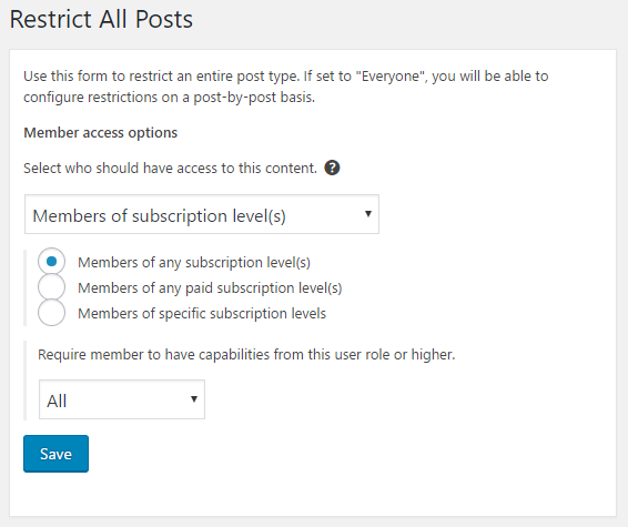 Interface for restricting an entire post type