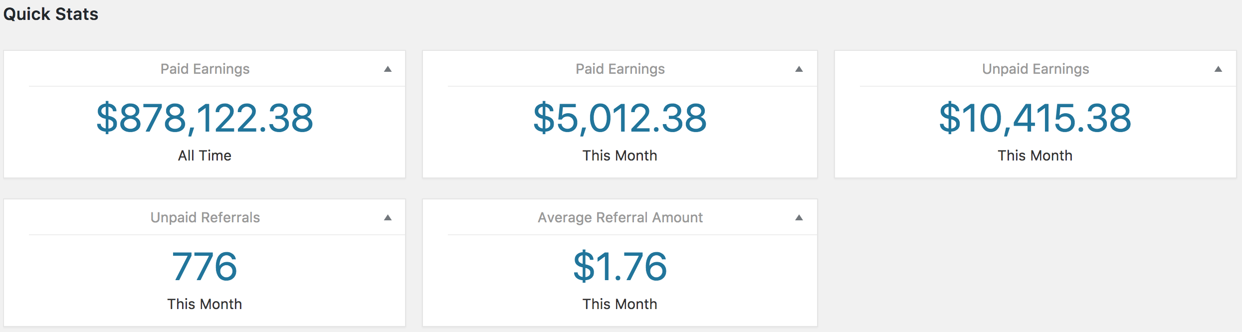 An example of Quick Stats available in the Referrals tab of the Reports section in AffiliateWP.