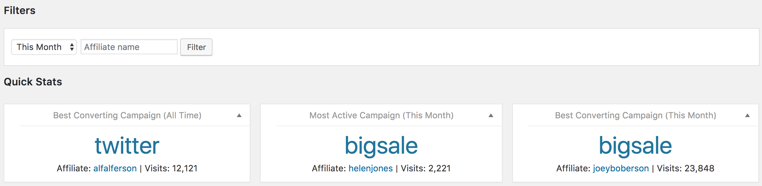 Viewing campaign data in the reports section of AffiliateWP.