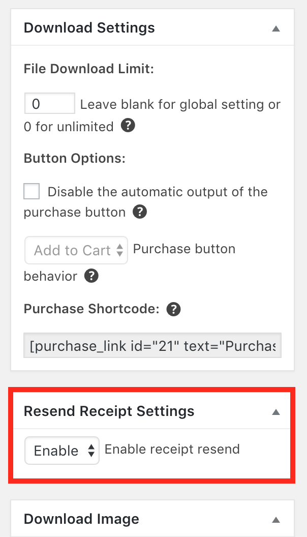 resend receipt easy digital downloads