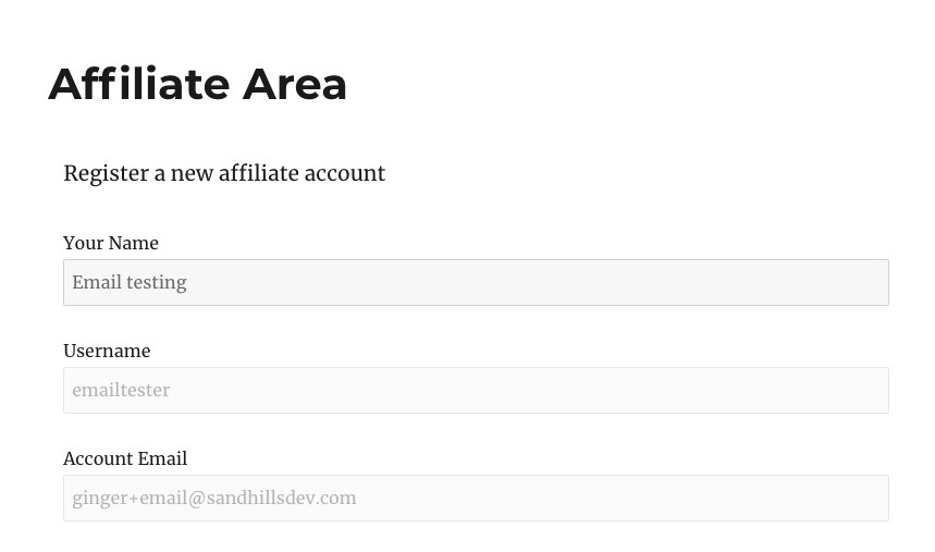 Affiliate Area Registration logged in