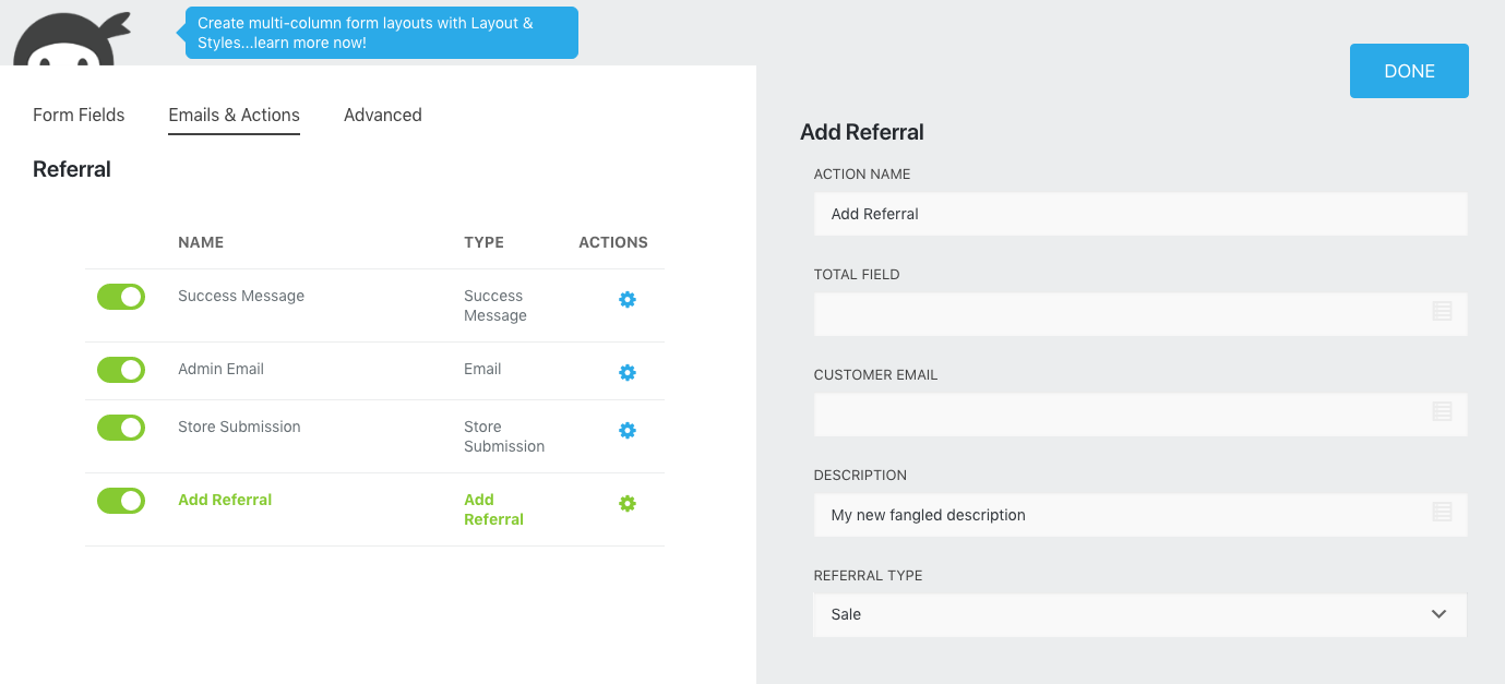 Ninja Forms actions add referral