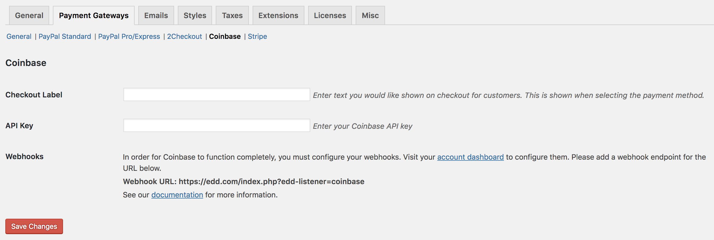 Coinbase Payment Gateway Setup Documentation - Easy Digital