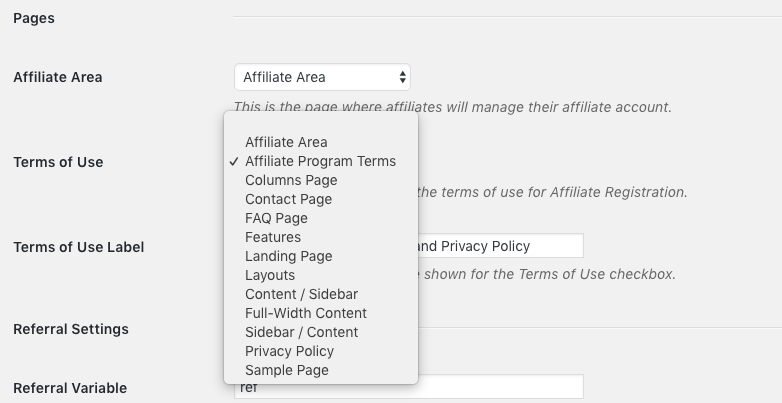 General settings affiliates terms of use