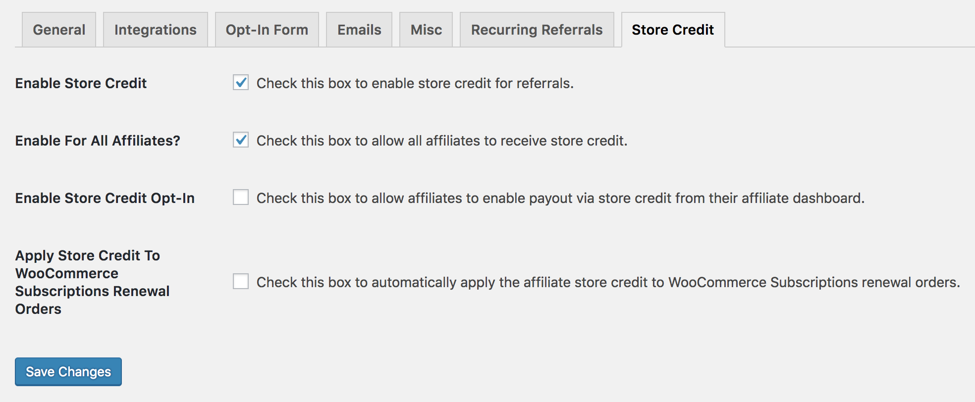 Store Credit settings